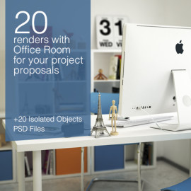 20 image renders with office room preview