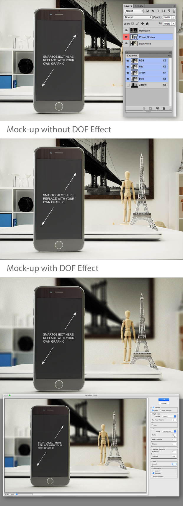 PSD Mock-ups with DoF