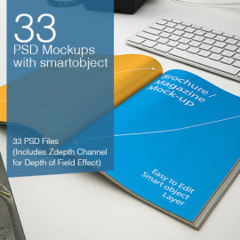 33 PSD Mock-ups with smart object from smarty bundles