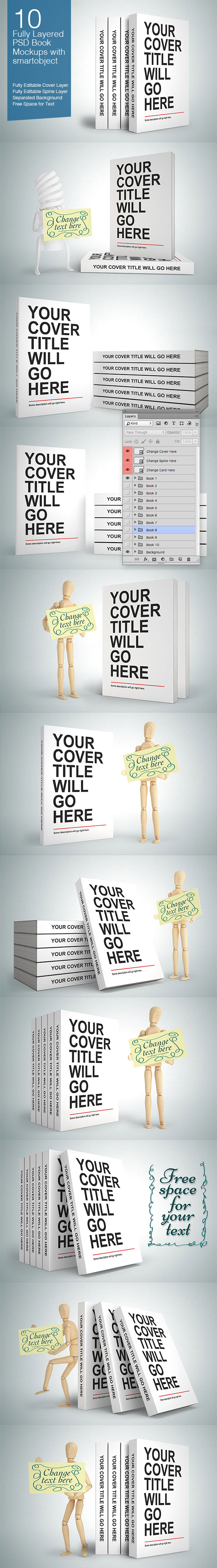 Editable Book PSD Mock-ups